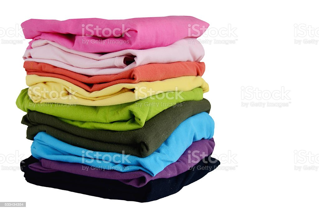 Stacks Clothes Colorful stock photo