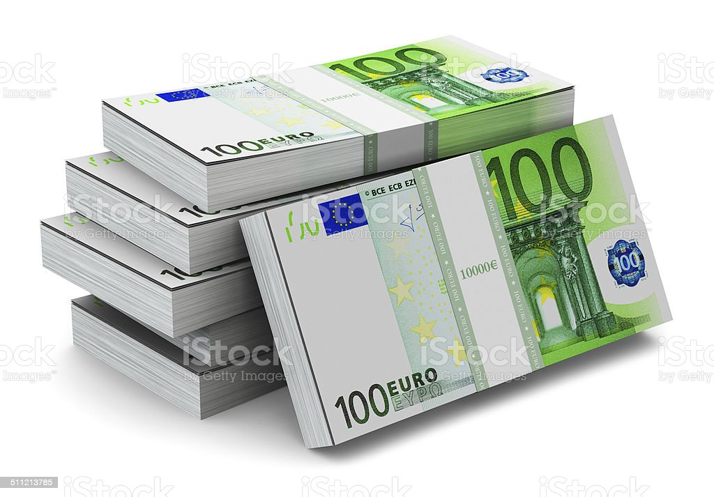 Stacks of 100 Euro banknotes stock photo