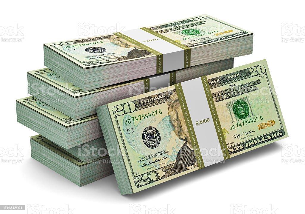 Stacks of 20 dollars banknotes stock photo