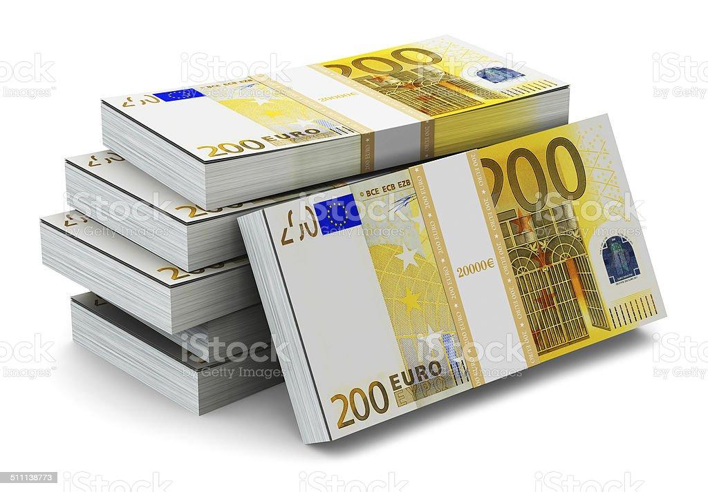 Pilas de 200 billetes de Euro - foto de stock