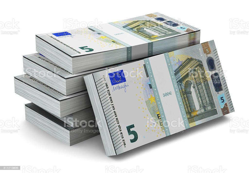 Stapel von 5 Euro-Banknoten – Foto