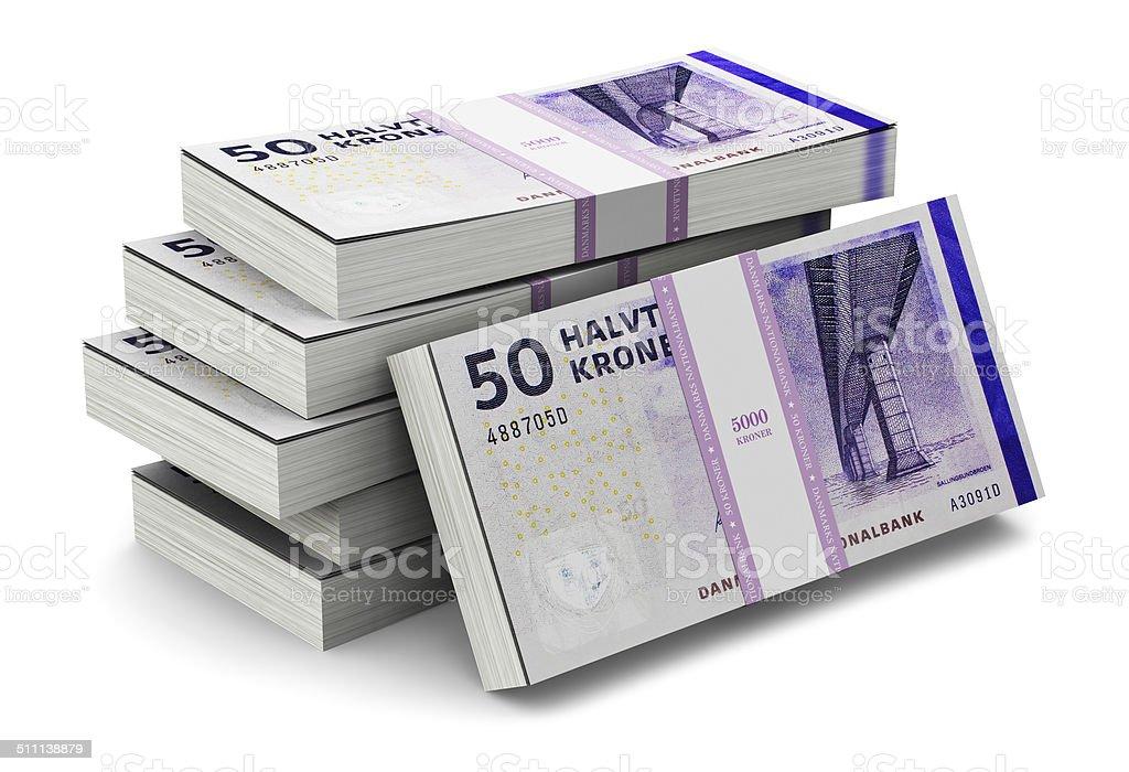 Stacks of 50 Danish krones stock photo