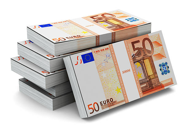 Stacks of 50 Euro banknotes See also: fifty euro banknote stock pictures, royalty-free photos & images