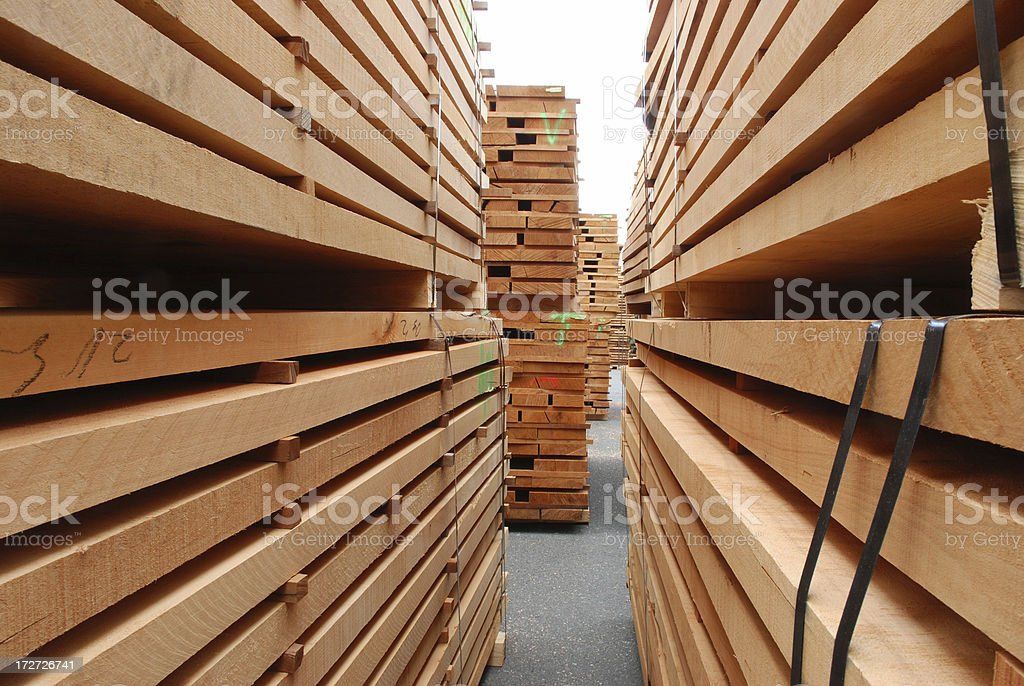 Stacks of beech boards stock photo