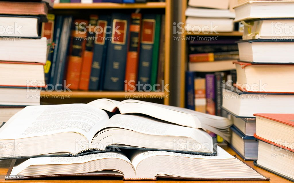 Stacks of books located at the library stock photo