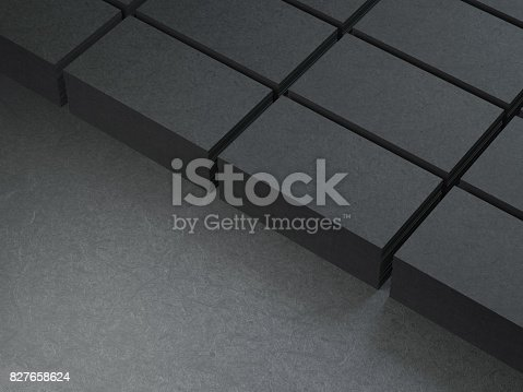 istock Stacks of cardboard Black Business cards 827658624