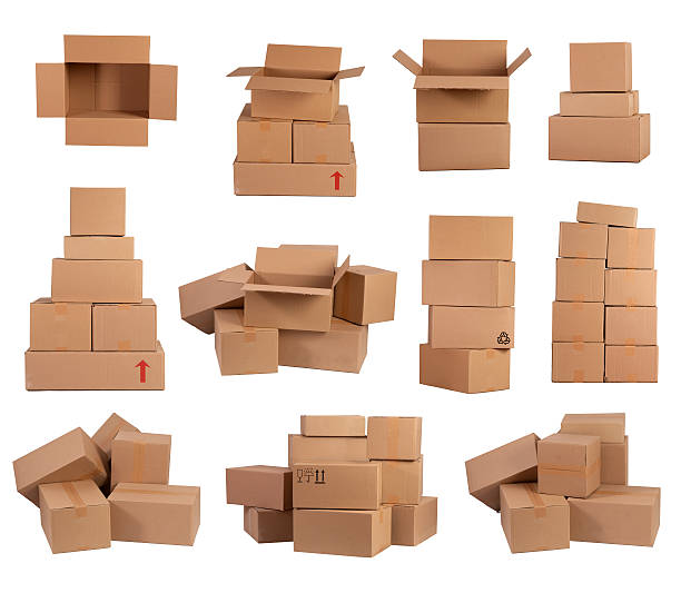 Stacks of cardboard boxes stock photo
