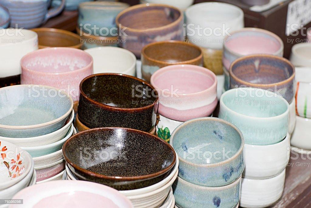 Stacks of ceramic dishes 免版稅 stock photo
