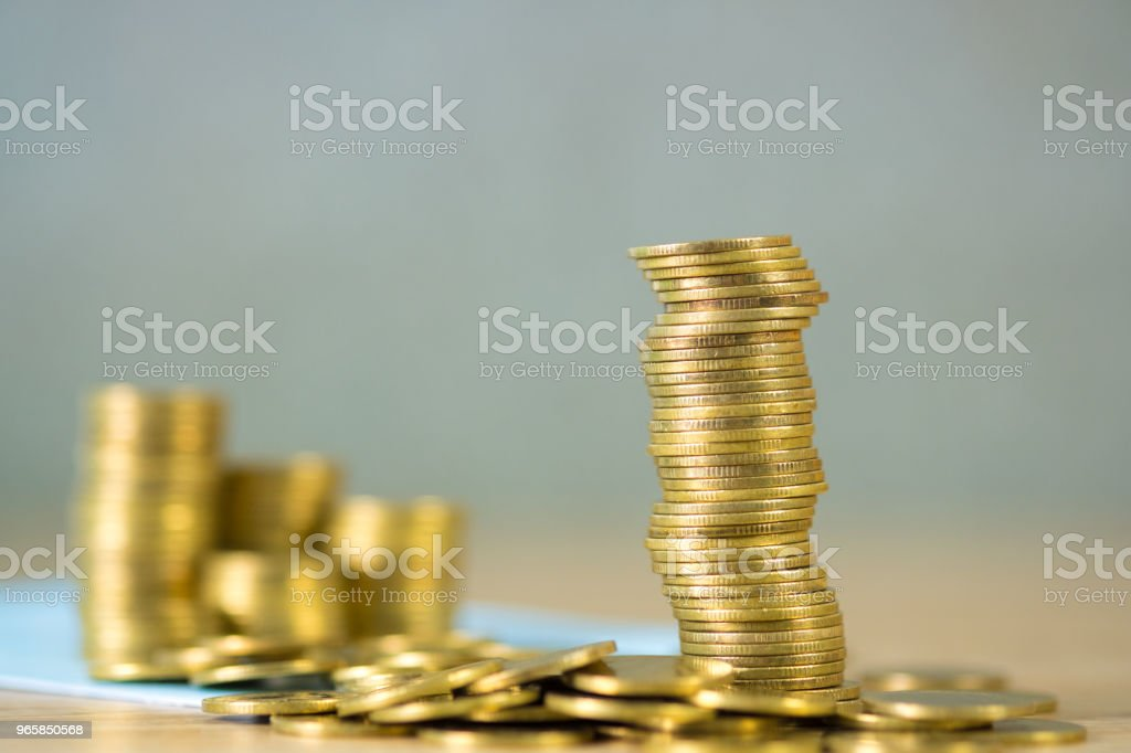 Stacks of coins and account book or credit card with copy space, finance and business finance, banking and savings concept. - Royalty-free Accountancy Stock Photo