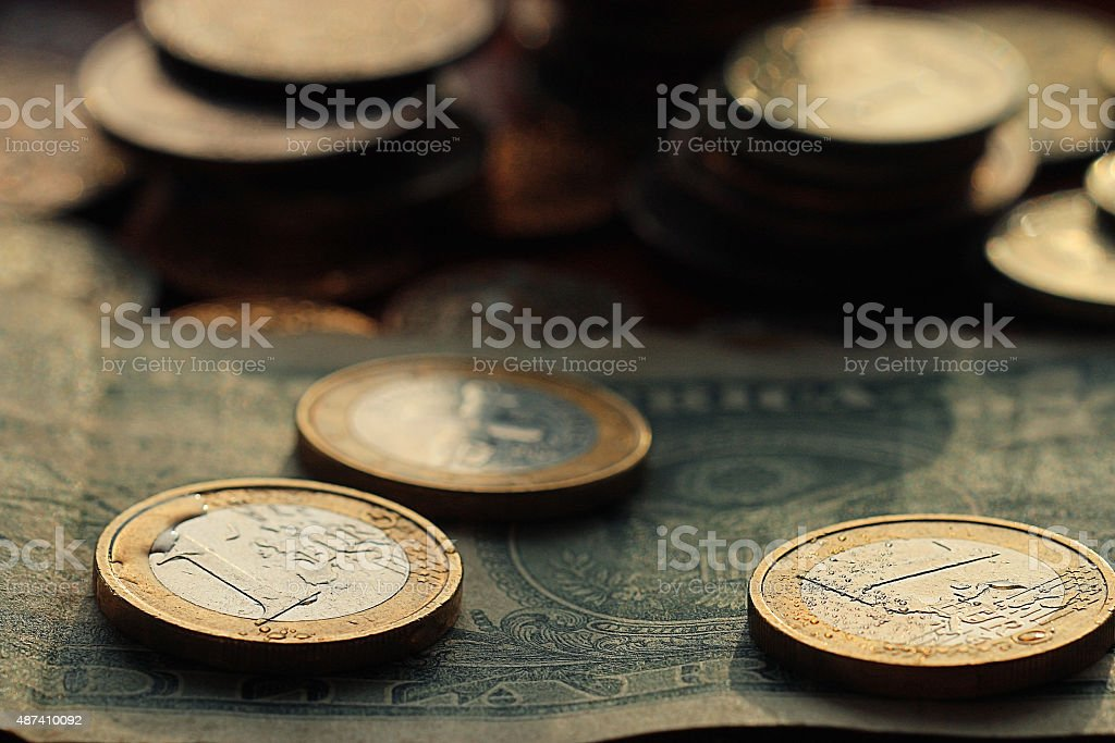 Stacks Of Coins Concept Dollars Euro Dollar Exchange Rate Economics Royalty Free Stock Photo