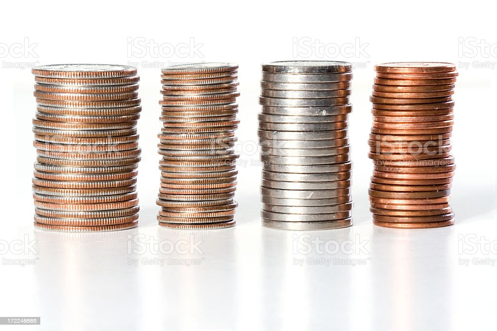 Stacks of coins of American currency stock photo