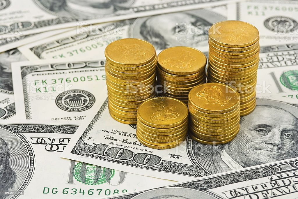 Stacks of coins on money royalty-free stock photo