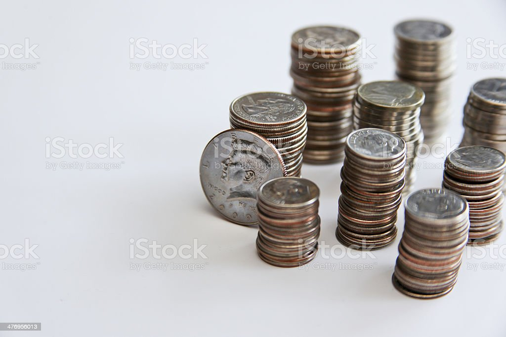 Stacks of Coins stock photo