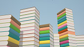 Stacks of colorful books,  illustration background