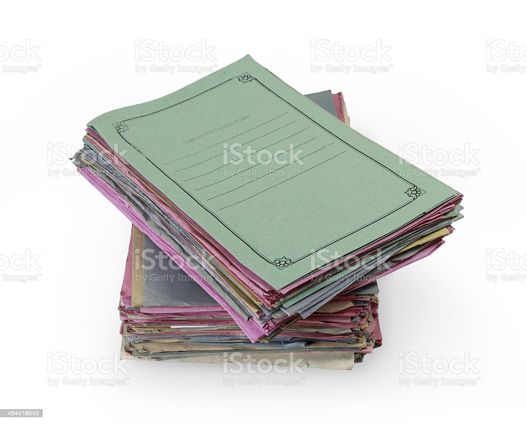 Stacks of colorful folders royalty-free stock photo