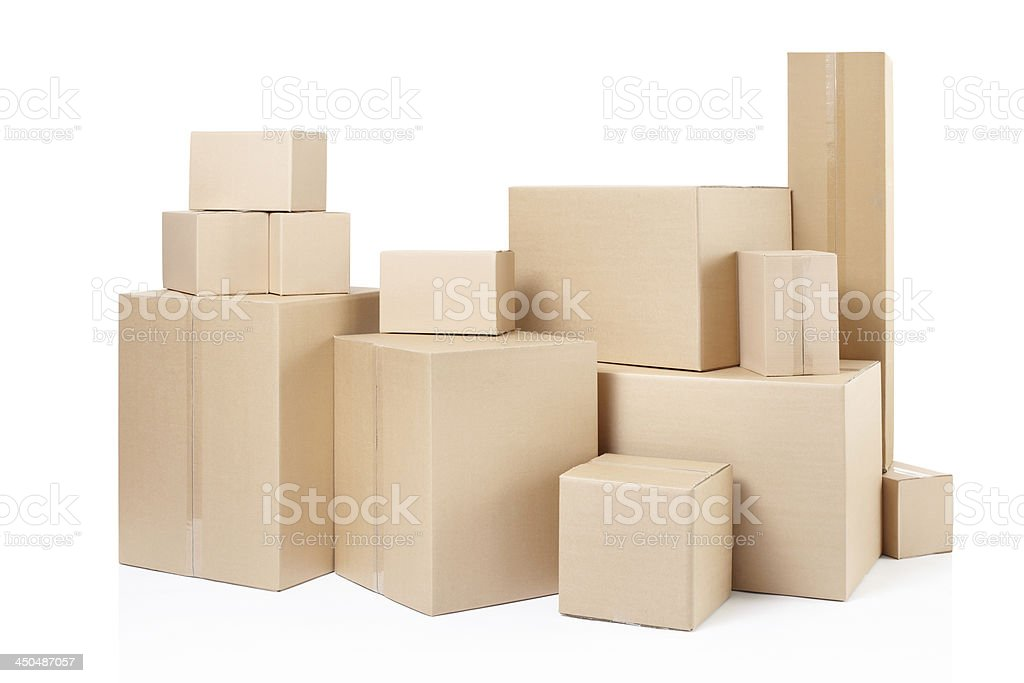 Stacks of different sizes of boxes stock photo