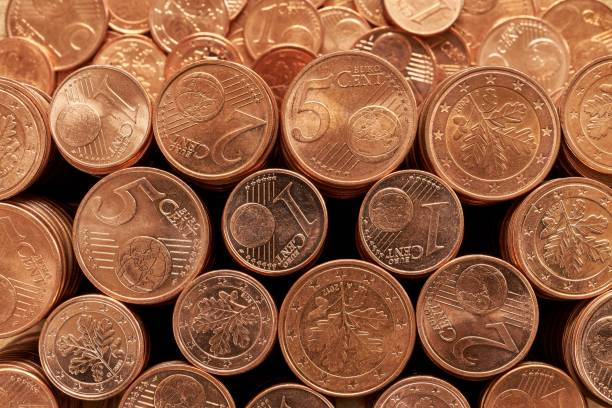 Stacks of Euro cent coins. Currency, banking european union coin stock pictures, royalty-free photos & images