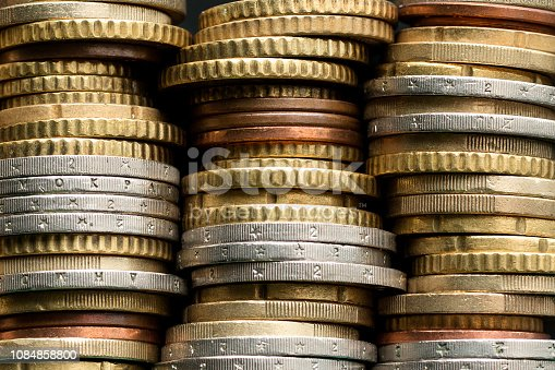Stacks of euro coins. Money background