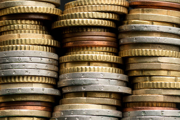 Stacks of euro coins Stacks of euro coins. Money background european currency stock pictures, royalty-free photos & images