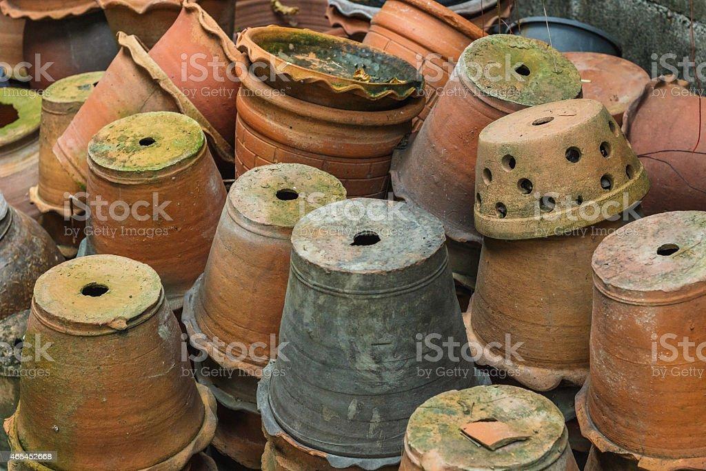 Stacks of flowerpots stock photo