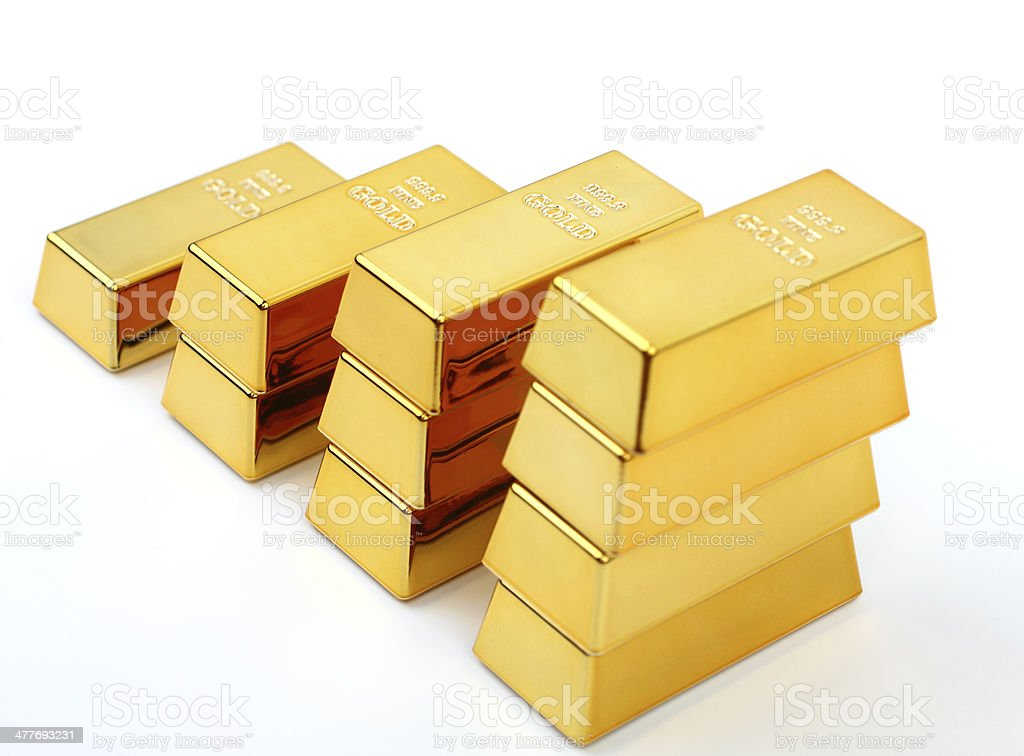 Stacks of gold bars stock photo