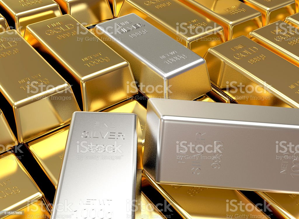 Stacks of golden and silver bars stock photo