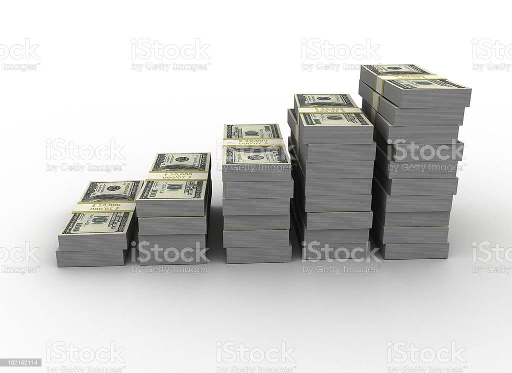 Stacks of green money bills increasing in size stock photo