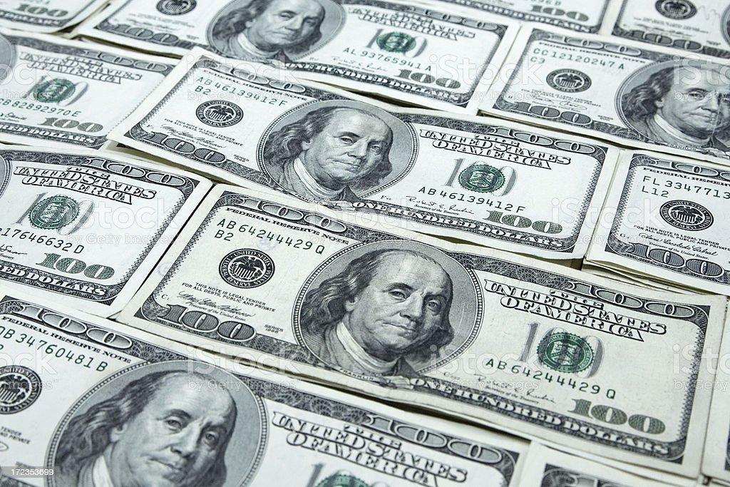 Stacks of Hundred Dollar Bills royalty-free stock photo