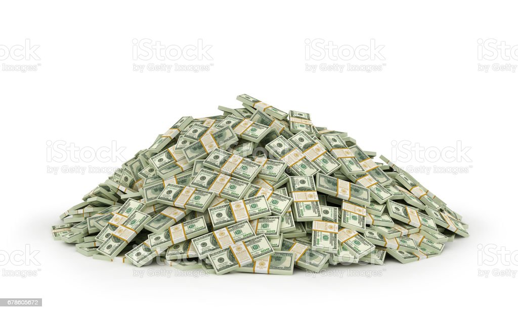 Stacks of Hundred US Dollars. 3d illustration stock photo