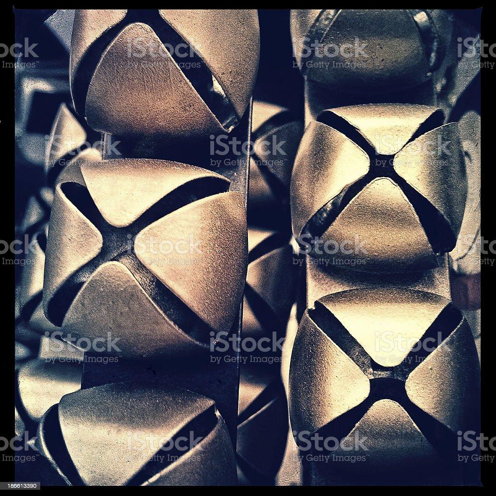 Stacks of jingle bells close up. stock photo