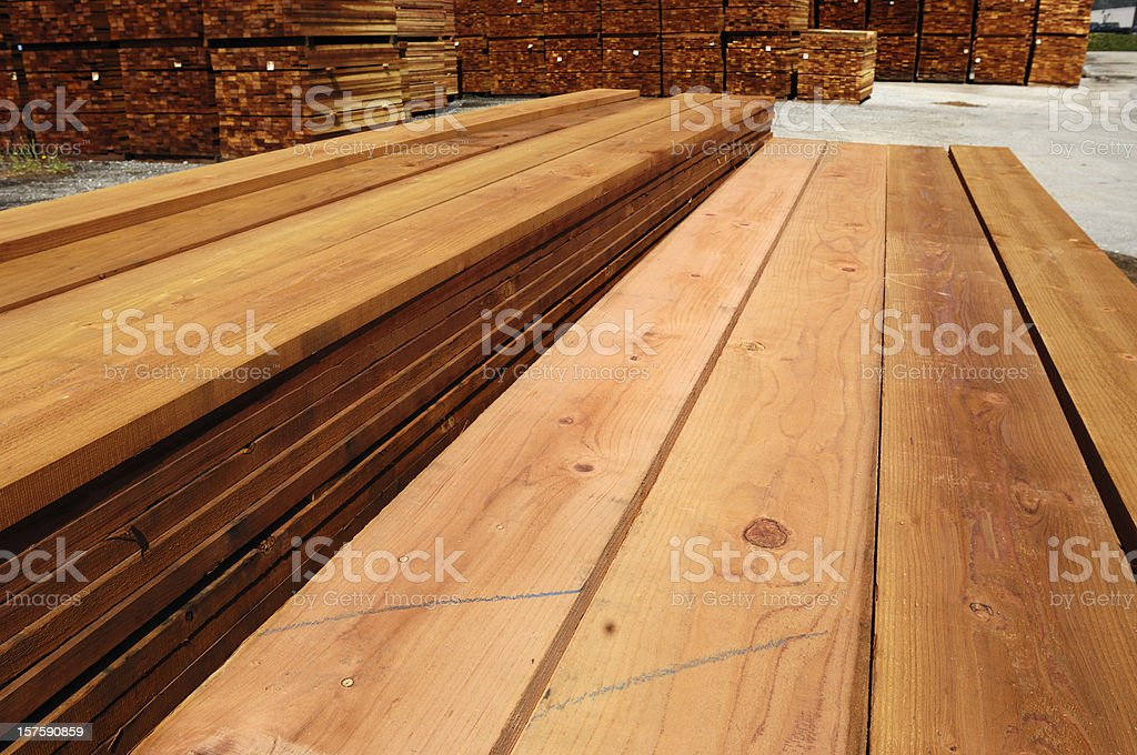 Stacks of Just Milled Redwood Lumber royalty-free stock photo