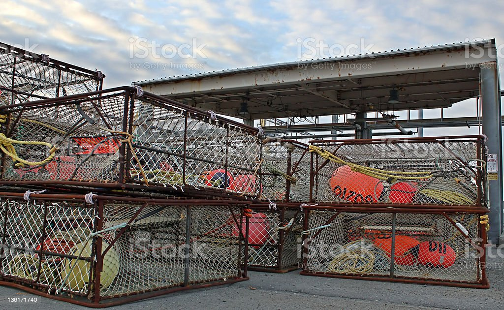 Stacks of large crab pots stock photo