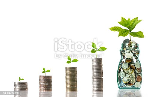 istock stacks of mix coins with bottle on white background, Business investment growth concept 811478936