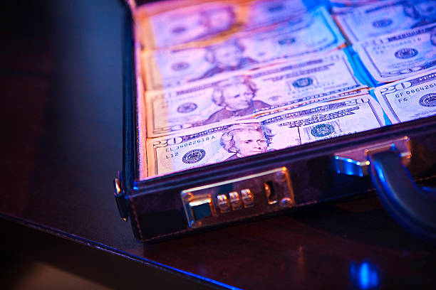 Stacks of Money In A Briefcase stock photo