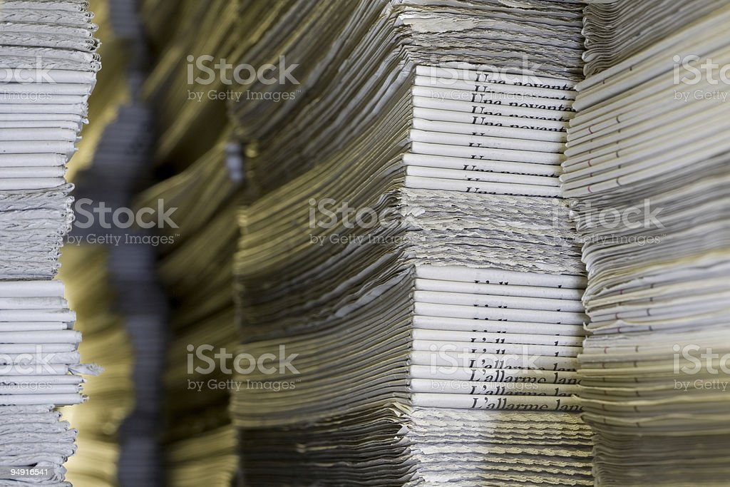 stacks of newspapers royalty-free stock photo