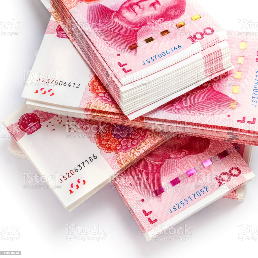 Stacks of one hundred china banknotes. stock photo