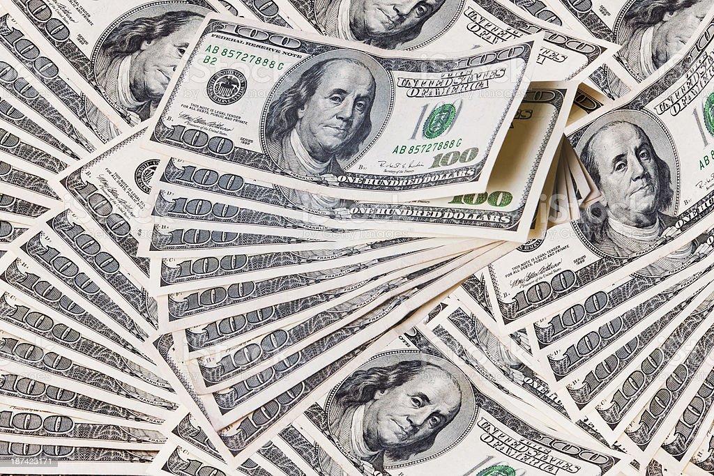 Stacks of One Hundred Dollar Bills stock photo