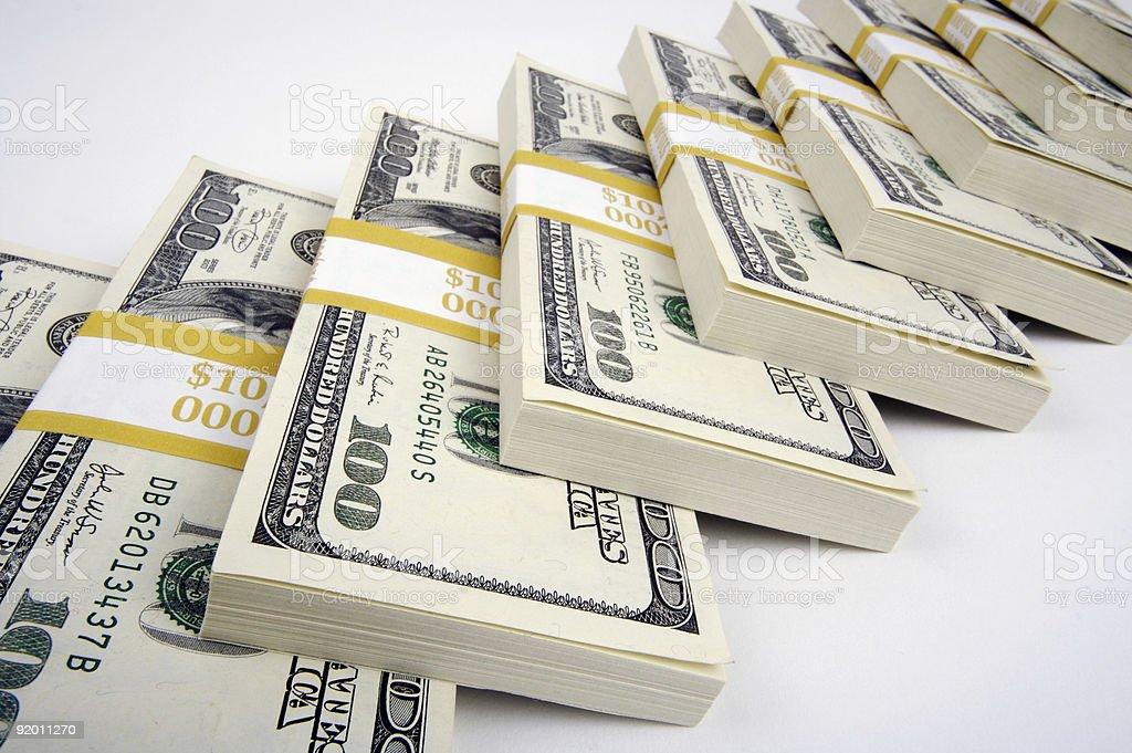 Stacks of One Hundred Dollar Bills royalty-free stock photo