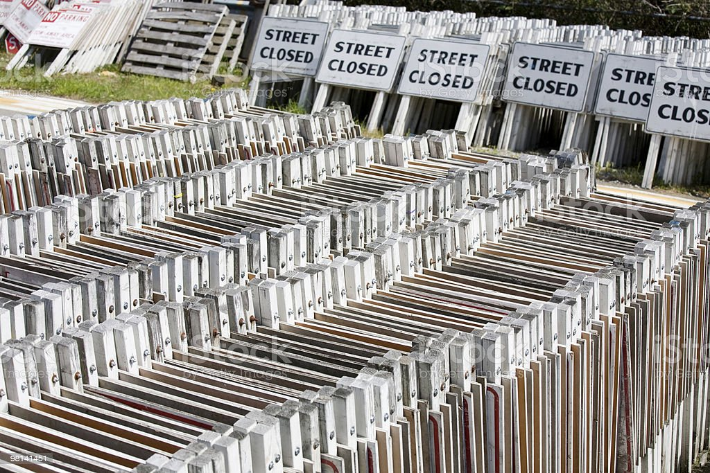 Stacks of outdoor street warning signs royalty-free stock photo