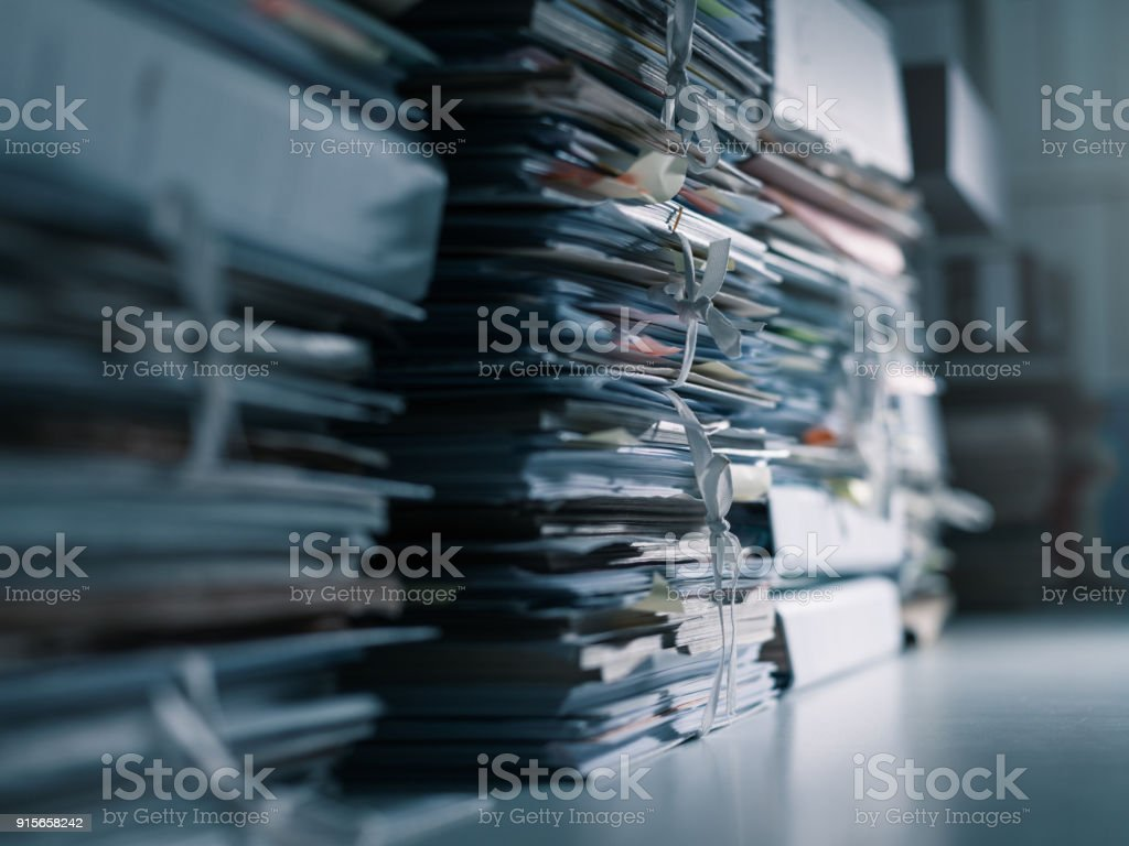 Stacks of paperwork in the office stock photo