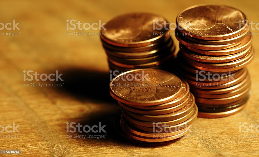 Stacks of Pennies royalty-free stock photo