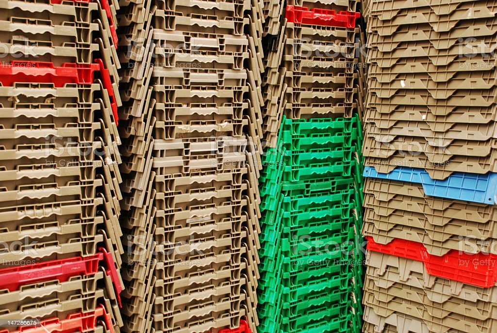 Stacks of Plastic Containers stock photo