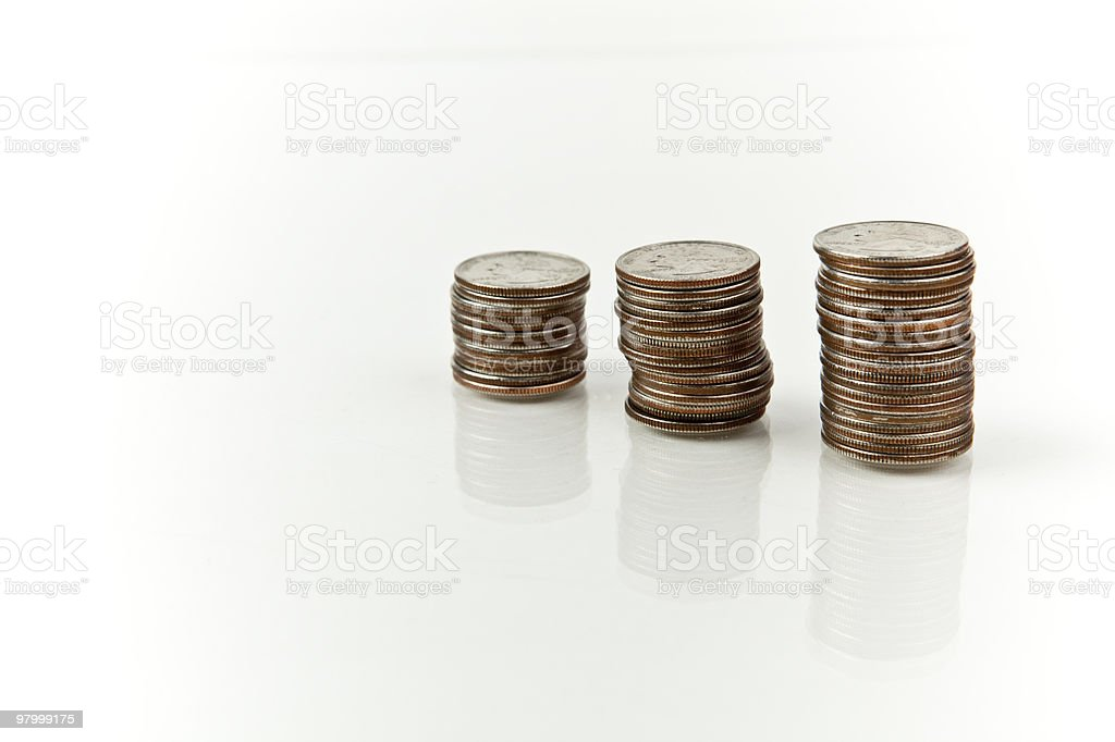 stacks of quarters royalty-free stock photo