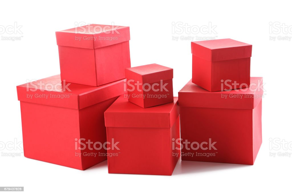 Stacks of red boxes isolated on a white royalty-free stock photo