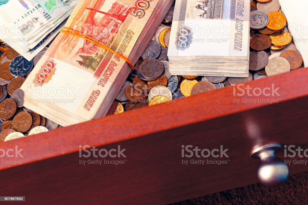 Stacks of russian rubles stock photo