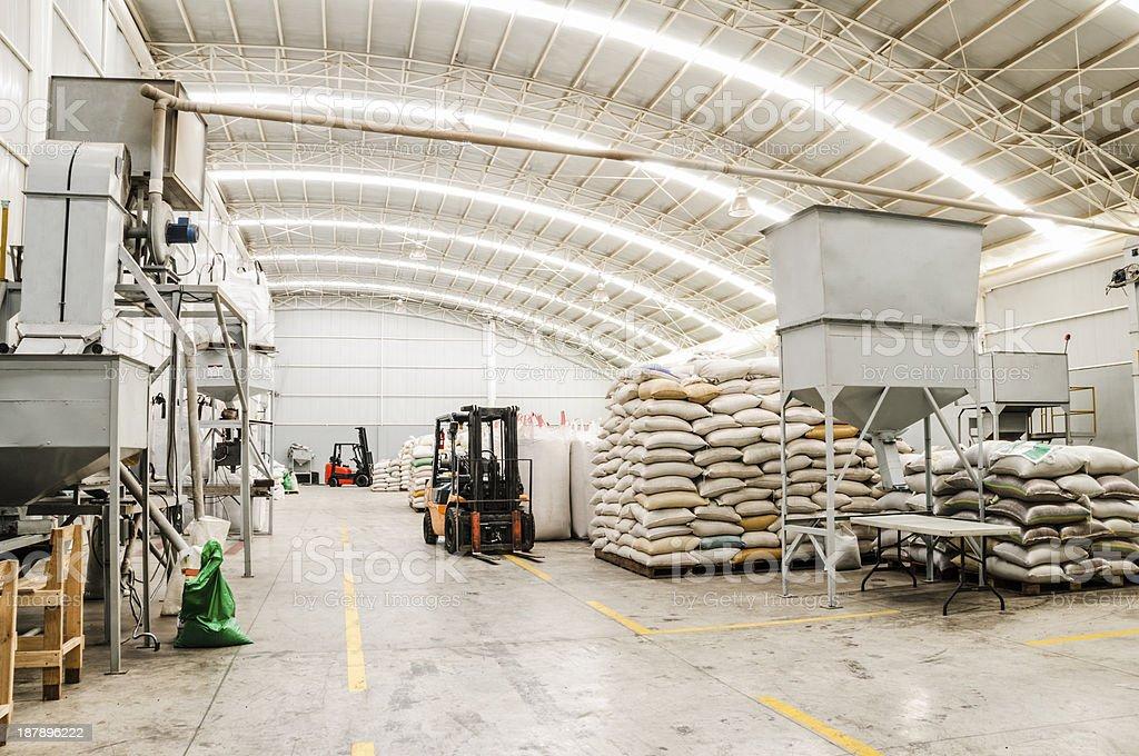 Stacks of sacks at a modern warehouse stock photo