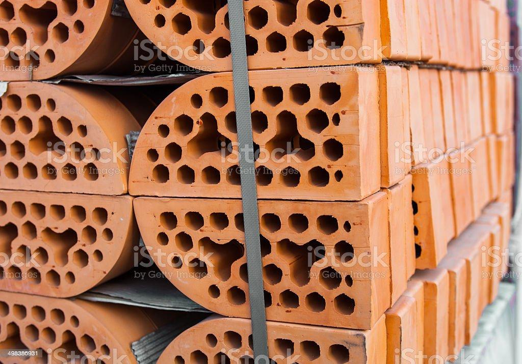 Stacks of silicate bricks stock photo