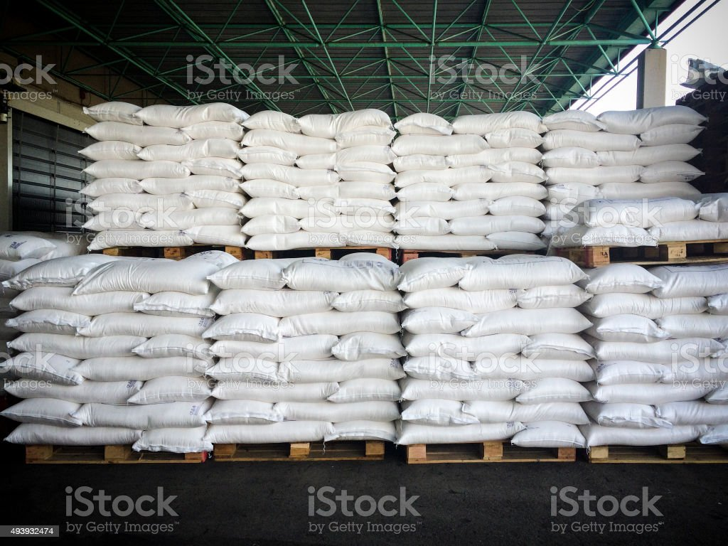 Stacks Of Sugar Sacks stock photo