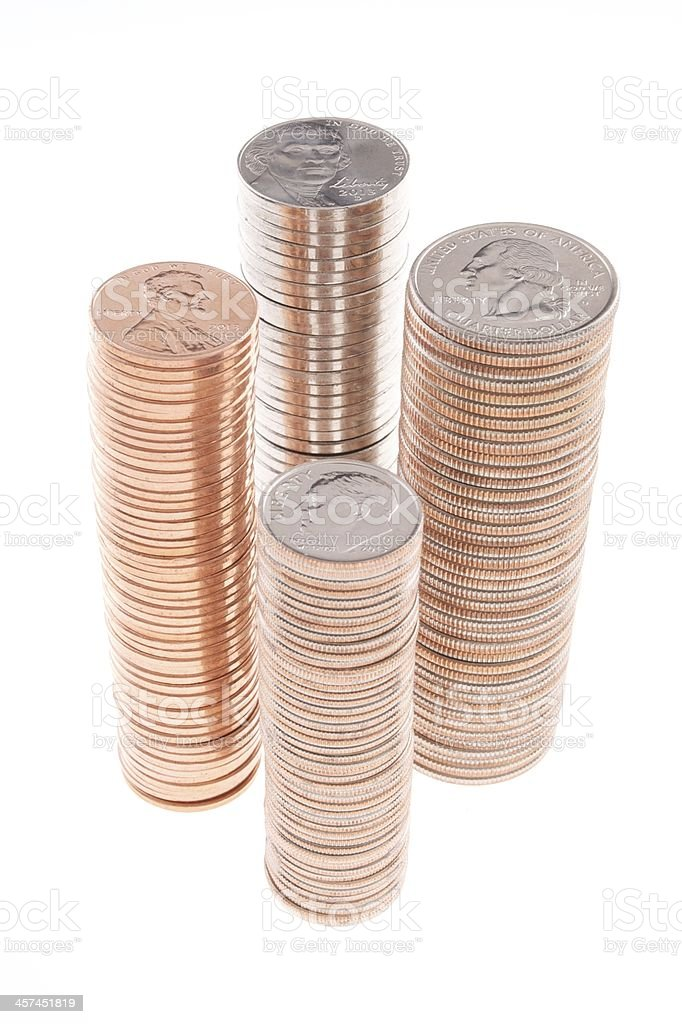 Stacks of United States Coins stock photo