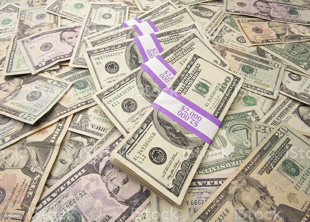 Stacks of Unites States Currency Background royalty-free stock photo